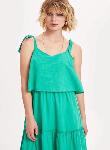 DeFacto Askılı Elbise Yeşil